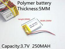 3.7V 250mAh 502030 Polymer Li-ion battery cell Dashcam Mp3 bluetooth. Protection
