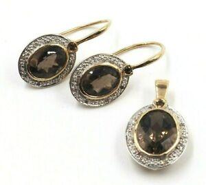 Smokey Quartz & Diamond Earring & Pendant Set 9ct Yellow Gold Women's Jewellery
