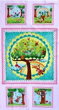 RAINBOW WOODLAND CHILDREN'S COTTON QUILTING/CRAFT PANEL BY RED ROOSTER FABRICS