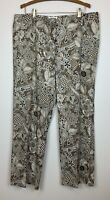 Talbots Women's 18 Wide leg Cotton paisley patterned pants, brown and white EUC