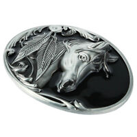 7x9cm Oval Carved Horse Head & Leaves Belt Buckle Cowboy - Antique Silver