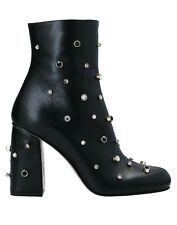 RED(V) Valentino leather studded embellished ankle boots booties black 7 37 EUC