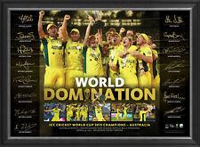 AUSTRALIA 2015 CRICKET WORLD CUP SIGNED LTD ED SPORTS PRINT - WORLD DOMINATION