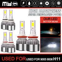9005 9006 H11 Cree LED Combo Headlight 6000W High Low Beam Bulb White Fog Light