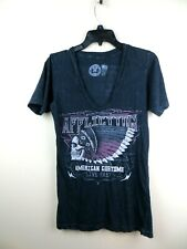 Womens Affliction  short sleeve black distressed tee Large flag skill Indian