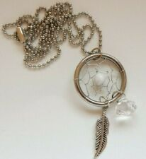 Dreamcatcher Necklace Pendant - White Ball Feather and Gem - Metal - Valentines