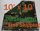 10' x 10' Heavy Duty 18 oz Vinyl Camo Camouflage Tarp Ground Cover Blind