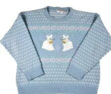 Sweater Exchange Women's Vintage Sweater Medium Hearts Kittens Blue Pink