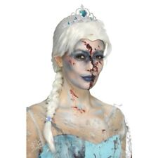 White Zombie Wig Pleated Pigtail Frozen Elsa Ladies Fancy Dress Halloween