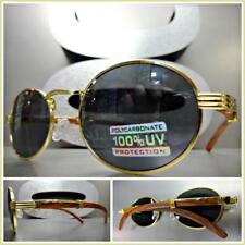 Men's Classy Unique Modern SUN GLASSES Oval Gold & Wood Wooden Frame Dark Lens