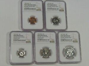 "5 Coin SMS Error Set: All NGC MS66-68 ""STRUCK THRU"".  #15"