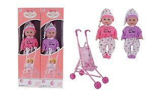 Baby Doll With Buggy  Pretend Play UK Doll and Stroller Set  Pink Purple Doll