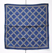 Celine Mini Scarf Pocket Square Handkerchief Handbag Twilly Cotton Dark Blue