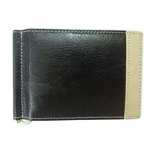 ALW Genuine Leather ATM Debit Credit Card holder with money clipper - Black