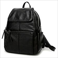 Women's Genuine Leather Black Backpack Satchel Rucksack Shoulder School Bag