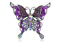 Pin Silvery Tone Aurora Bo Purple Crystal Rhinestone Multilayer Butterfly Brooch
