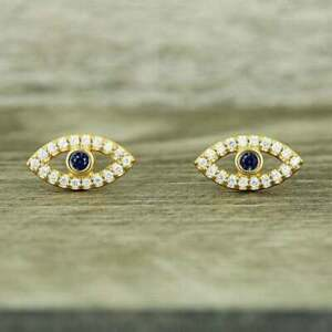 0.65Carat Round Cut Diamond & Blue Sapphire Earrings 14Karat Yellow Gold Finish