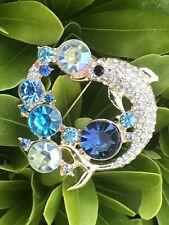 Crystal Rhinestone Pin Brooch Vintage Pendant Dolphin Shark Aqua Blue Clear Usa
