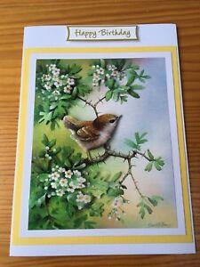 Handmade Happy Birthday card 3D decoupage Wren bird in May blossom tree
