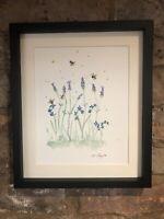 Bumble Bees, Lavender, Forget Me Not Original Watercolour Painting, Original Art