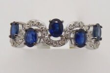 14k WHITE GOLD DIAMONDS AND OVAL SAPPHIRE BAND