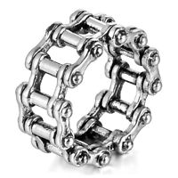 MENDINO Men's 316L Stainless Steel Ring Retro Bicycle Chain Link Biker Silver