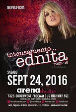 "EDNITA ""INTENSAMENTE TOUR 2016"" HOUSTON CONCERT POSTER - Latin Pop Music"
