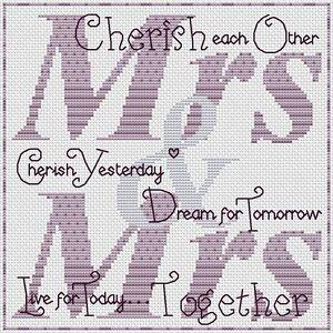 "Cherish Each Other (Mrs & Mrs) Cross Stitch Design (8x8"", 20x20cm, kit or chart)"