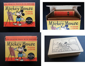 1930 MICKEY MOUSE BIG LITTLE SET To Draw & Color - VERY RARE UNUSED Store Stock