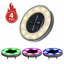 New listing Tomshine 4 Pack Solar Disk Lights Warm White & Color Changing Waterproof
