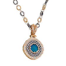K265 ~ Sterling Silver Doublet Pendant Necklace with Zircons