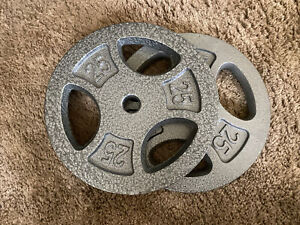 NEW CAP Barbell 25 Pound Iron Grip Plates Weights Set (2) 50LB Total SHIPS FAST!