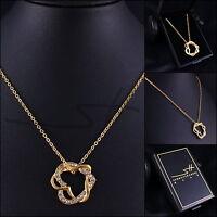 Geschenk: Kette Halskette *Herz um Herz*, Gelbgold pl., Swarovski Elements +Etui