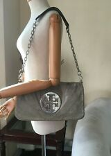 Authentic ToryBurch Lizard Print Taup Suede Chain Strap Flap Shoulder Bag Clutch