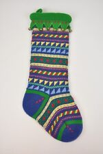 "Knit STOCKING Bells Green Multi-Color Striped 20"" Christmas Holiday Soft fabric"