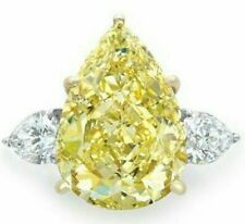 10 Ct Canary Yellow Pear Diamond Three Stone White Gold Finish Cocktail Ring