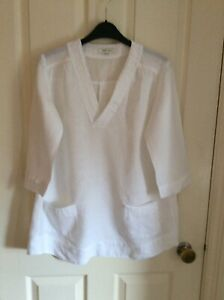KEW 159 Jigsaw * Lovely 100% Linen White Tunic Top with Pleat Detail Size 8 10