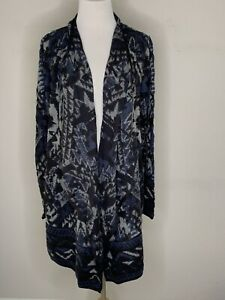 Lucky Brand Womens Cardigan Knit Sweater Open Front Waterfall Tunic Black L NWT