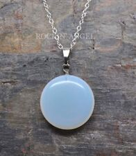 925 Silver Sea Opal / Opalite Disc Necklace Pendant Reiki Healing Ladies Gift