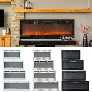 Fireplace LED White Black Silver Wall Mounted Recessed Insert Wide Electric Fire