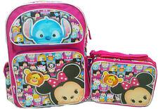"Disney Tsum Tsum Pink Large Backpack 16"" & Lunch Bag Set New ! 2 pc set"