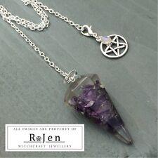 Orgonite Amethyst Pendulum Necklace Combo Pentagram Rainbow Moonstone Clip Charm