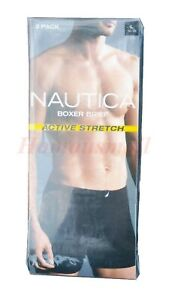 3 X NAUTICA Men's Soft Cotton Stretch Boxer Underwear  Trunks NEW