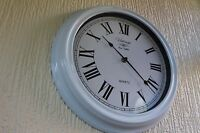 VINTAGE SHABBY CHIC WHITE ANTIQUE WALL CLOCK ROUND ROMAN NUMBER WALL CLOCK NEW
