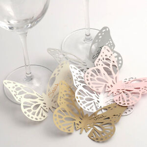 10 Pack Butterfly Glass Place Cards - Plain/Lace Laser Cut. Wedding Table Decor