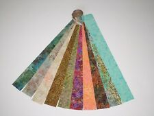 "Indonesia Bali Batik Jelly Roll Cotton Fabric 10 - 2-1/2"" Strips Brown Green"