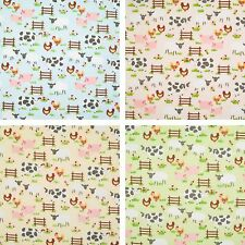 Nursery Kids Polycotton Fabric EASTER FARM ANIMAL SHEEP COW 1/2 metre Material