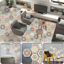 10Pcs Self-Adhesive Hexagonal Bathroom Mandala Style Floor Wall Tiles Stickers