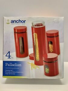 Palladian Anchor Hocking Company  Set of Four (4) Red Canisters** NEW IN BOX **