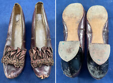 Victorian 1870s Aubergine Leather Bronze Beaded Brown Bow Trim Dancing Shoes Vtg